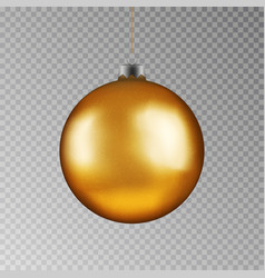 christmas gold ball handing on string xmas vector image