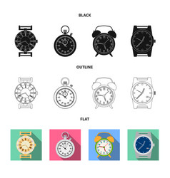 Clock and time logo set of vector