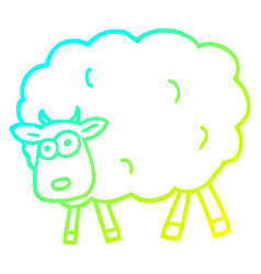 Cold gradient line drawing cartoon sheep vector