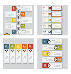 Collection of 4 presentation template vector