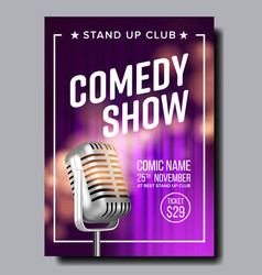 Colorful poster of comedy show in club vector