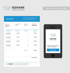 company invoice with creative blue design and vector image