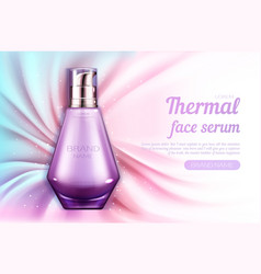 Cosmetics serum bottle mockup thermal face product vector