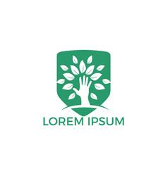 creative green hand tree logo design vector image