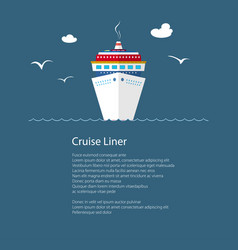 Cruise ship at sea and text vector