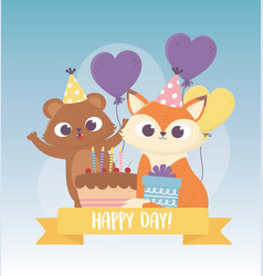 Cute bear and fox with party hats cake balloons vector