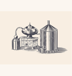 distilled alcohol device for preparing tequila vector image