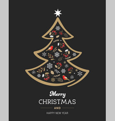 elegant gold and black christmas tree with xmas vector image