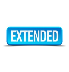 Extended blue 3d realistic square isolated button vector