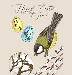 festive colorful card for happy easter greetings vector image