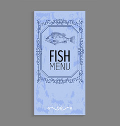 Fish menu with bass depiction and twirl decoration vector