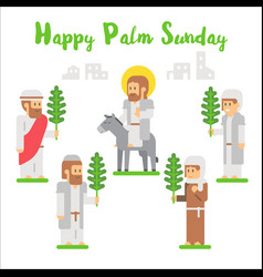 flat design happy palm sunday vector image