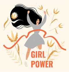 girl in a winner pose on a floral background vector image