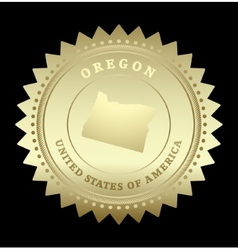 Gold star label Oregon vector
