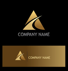 gold triangle loop company logo vector image