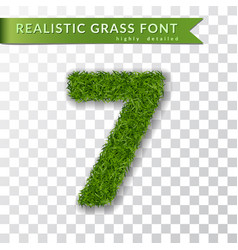 Grass number seven green number 7 isolated vector