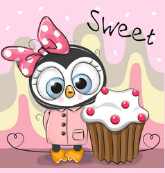 greeting card cute penguin with cake vector image