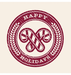 Grunge Happy Holidays Emblem vector image