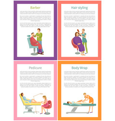 Hair styling barber hairdresser posters set vector
