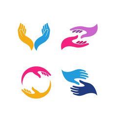 hand care logo design template hand care icon vector image