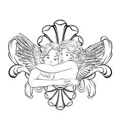 hand drawn hugging cupids vector image