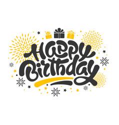 happy birthday lettering design vector image