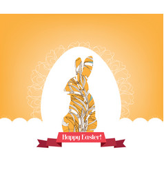 happy easter with egg and doodle bunny vector image