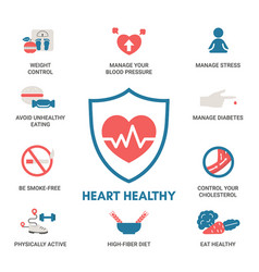 healthy heart concept with icons healthy heart vector image