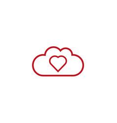 heart inside clouds for logo design vector image