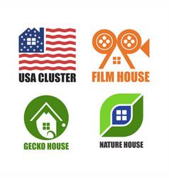 House logo unique set design vector