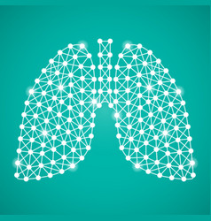human lungs isolated on a green background vector image