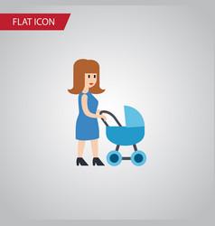 isolated mother flat icon perambulator vector image