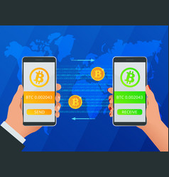 isometric buy bitcoin man and woman hand holding vector image