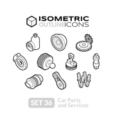 Isometric outline icons set 36 vector image