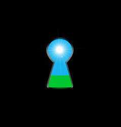 keyhole with light inside ecological concept vector image