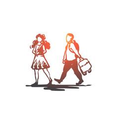 Kid good manners girl boy bag concept vector
