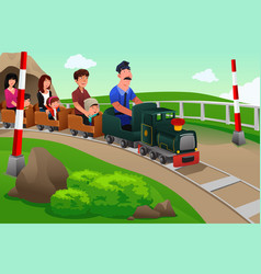 Kids and their parents riding a small train vector