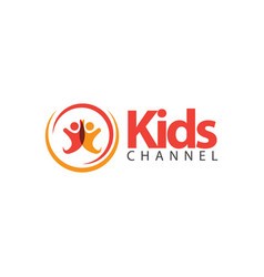 Kids channel logo template design vector