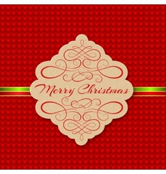 Knitted Background with Christmas Label Greeting vector image