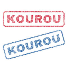 kourou textile stamps vector image vector image