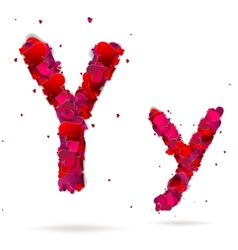 Letter y made from hearts Love alphabet vector
