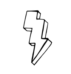Lightning doodle icon stock hand drawn vector
