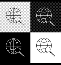 magnifying glass with globe icon isolated on vector image