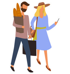 Male and female characters at market buying bread vector