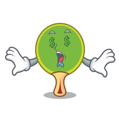Money eye ping pong racket mascot cartoon vector