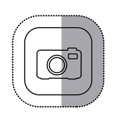 monochrome contour with square sticker of analog vector image