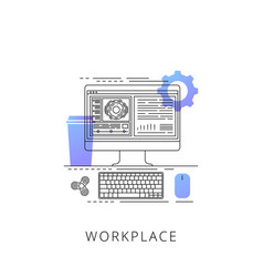 Neon workplace line icon vector