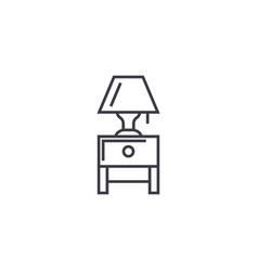 Nightstand with a lamp line icon sign vector