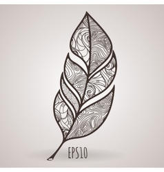 Ornate intricate feather doodle entangle vector