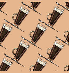 pattern with coffee glass vector image